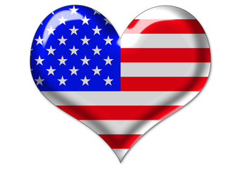 USA flag in heart
