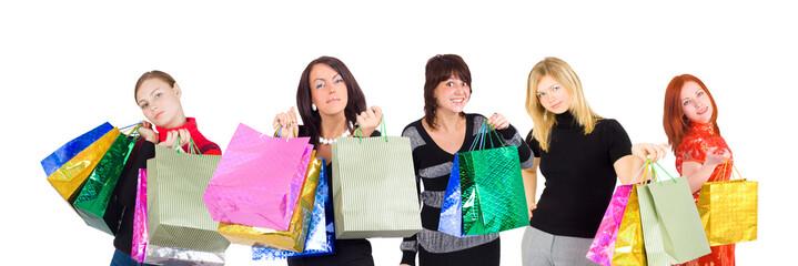 Group of shopping women