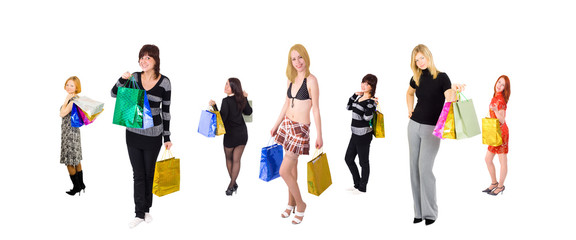 group of six shopping girls with happy  three at the front