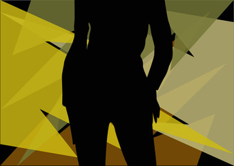 Wall Mural - silhouette of sexy woman in front of camouflage screen