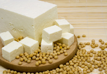 Tofu cheese and soybeans