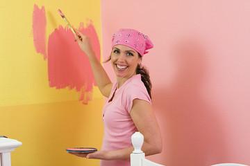Beautiful woman Pink Paint
