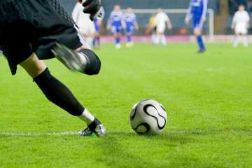 soccer or football goalkeeper kick the ball
