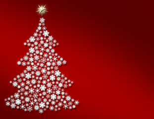 Snowflake Christmas Tree on Red