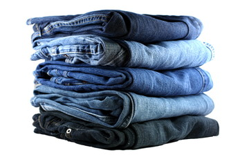 stack of five blue jeans