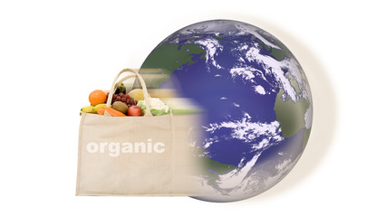 Organic food miles concept with carbon trail around world