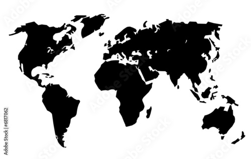 Planisph re noir simplifi photo libre de droits sur la for Mappa mondo bianco e nero