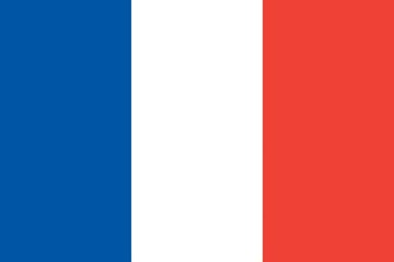 blue, white and red flag of france with official proportion