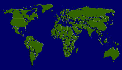 World map green on darkblue background