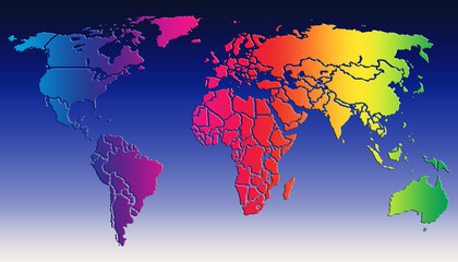 World map colorfull gradient on blue gradient background
