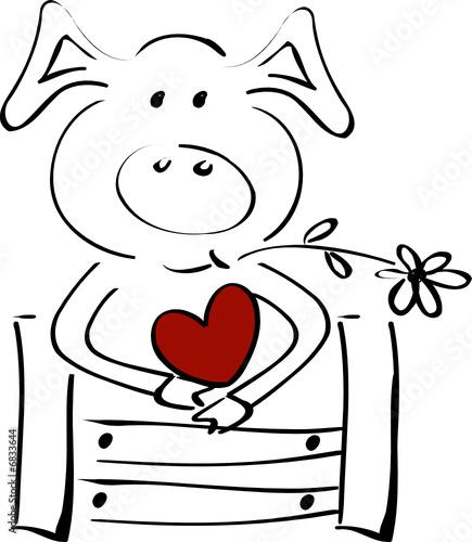 Gluckssymbol Schweinchen Mit Herz Lehnt Am Zaun Stock Image And