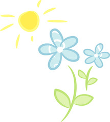 Pastellblaue Frühlingsblumen im Sonnenschein
