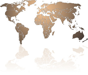 World Map Shiny Bronse With reflection on white background