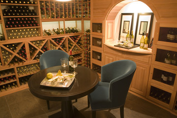 Wine cellar with seating for two.