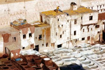 Sèchage des peaux tannées ; Médina de Fès ; Maroc