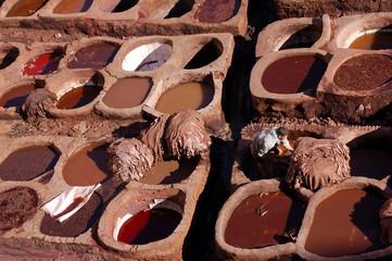 Tanneries ; médina de Fès ; Maroc