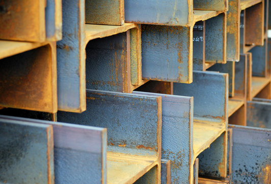 Stack of rusted steel I-Beams