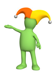 3d person - puppet, in a hat of the clown with bells
