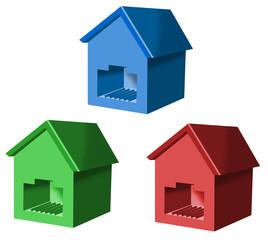 Network plug shaped as houses