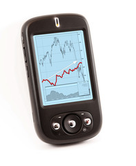 smart phone with financial chart