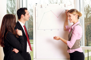 successful business team is working on a chart