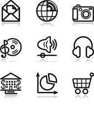 Black contour web icons, set 5