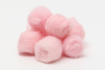 Pink hygienic cotton balls