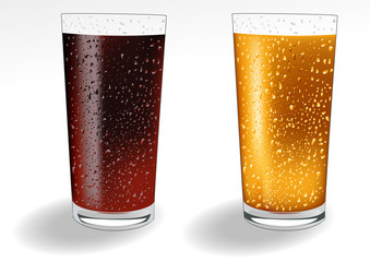Glasses with cola soda and orange drinks