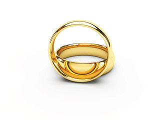 Wedding golden rings one over another. Isolated.