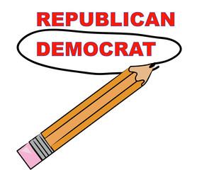 pencil choosing democrat over republican