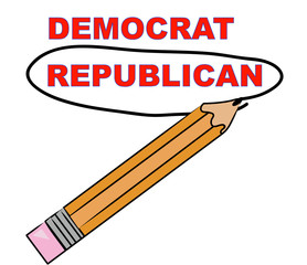 pencil circling the word republican over democrat