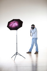 Photographer shooting in studio