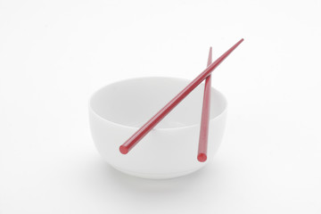 Chinese bowl and red chopsticks