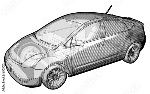schematic illustration of a toyota prius