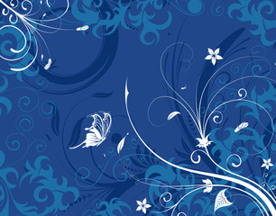 Abstract flower background with butterfly, design, vector