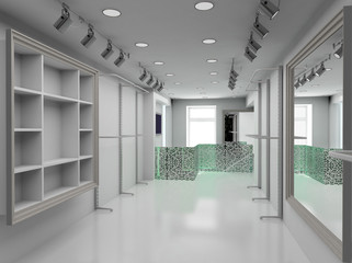 3D render modern interior of shop