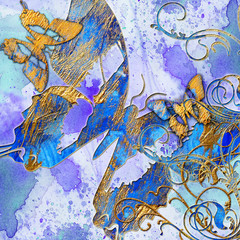 artistic blue abstraction with butterflies