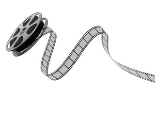 Film reel and strip on a white background