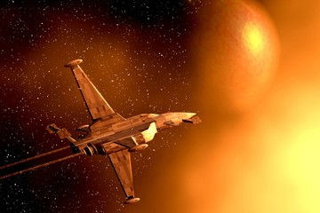 Space war-plane. 3D picture