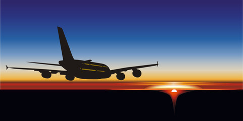 Vector illustration passenger aircraft A380 Airbus at sunrise