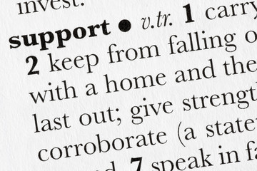 Support word dictionary definition