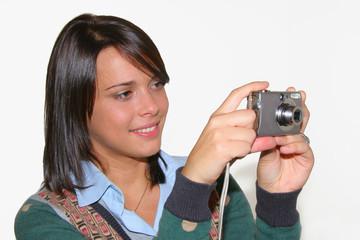 beautiful girl with photocamera