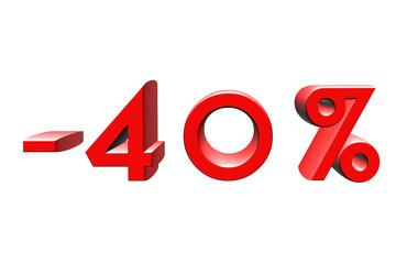 -40 pourcent, percentage