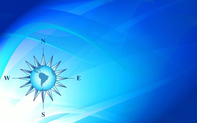 Abstraction blue background with compass