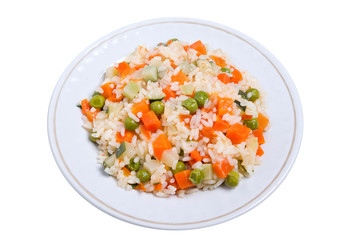 Rice with vegetable on plate