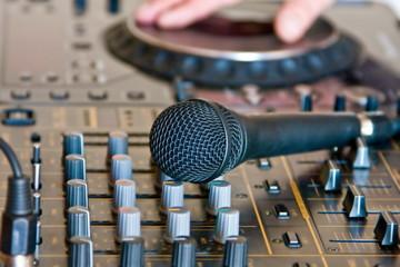 microphone on soundboard dj