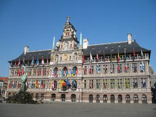 Foto op Textielframe Antwerpen Het Stadhuis - Rathaus in Antwerpen Belgien