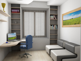 Interior of a room. 3D image.