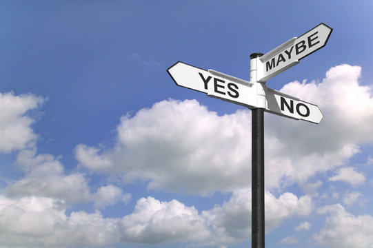 Yes No Maybe sign post in the sky