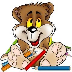 Sweet Bear and Crayons - detailed cartoon illustration